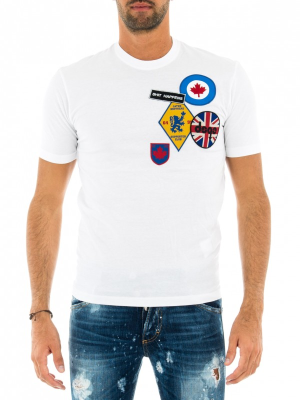DSQUARED2 T-SHIRT UOMO BIANCA CON PATCH