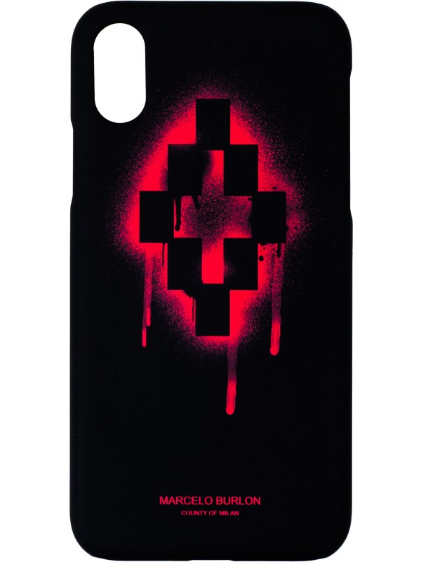 MARCELO BURLON COVER IPHONE X - XS WITH LOGO RED CROSS