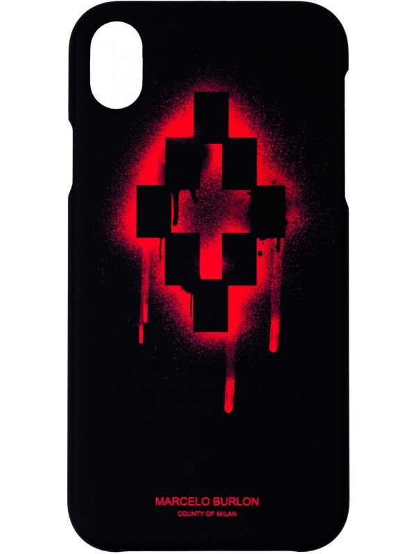 MARCELO BURLON COVER IPHONE XR WITH LOGO RED CROSS